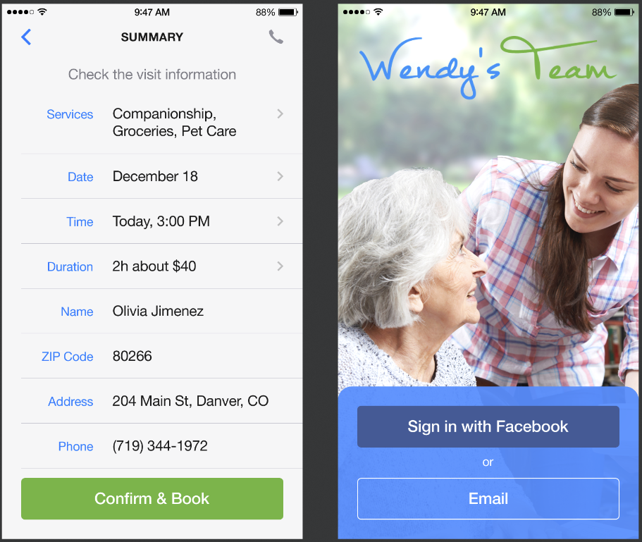 mobile app for elder's care