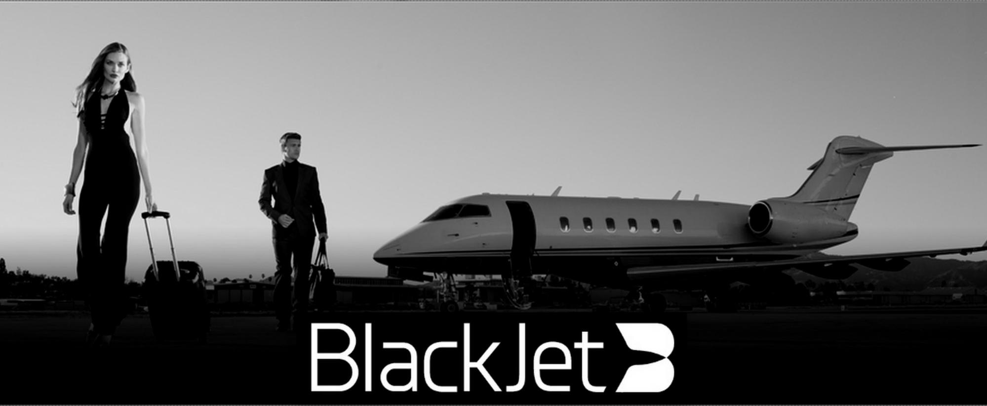 Blackjet photo in airport with logo