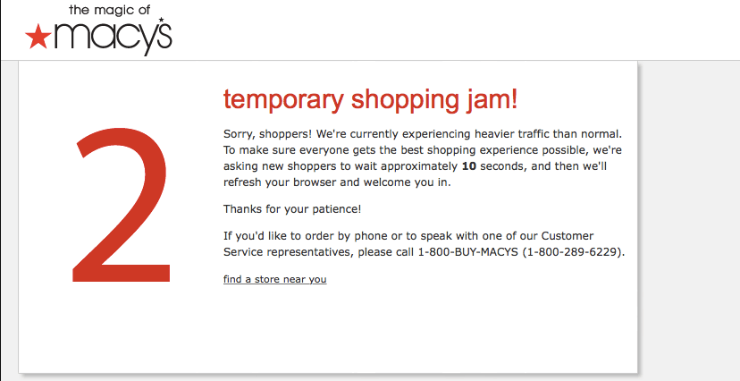 Macy's website crash