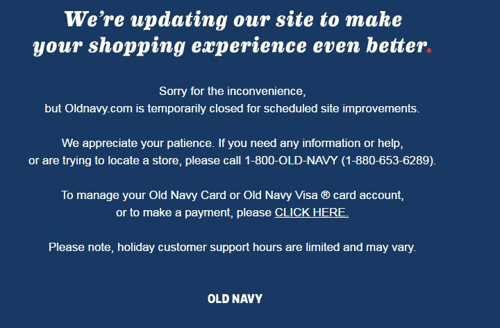 Blue Navy website crash