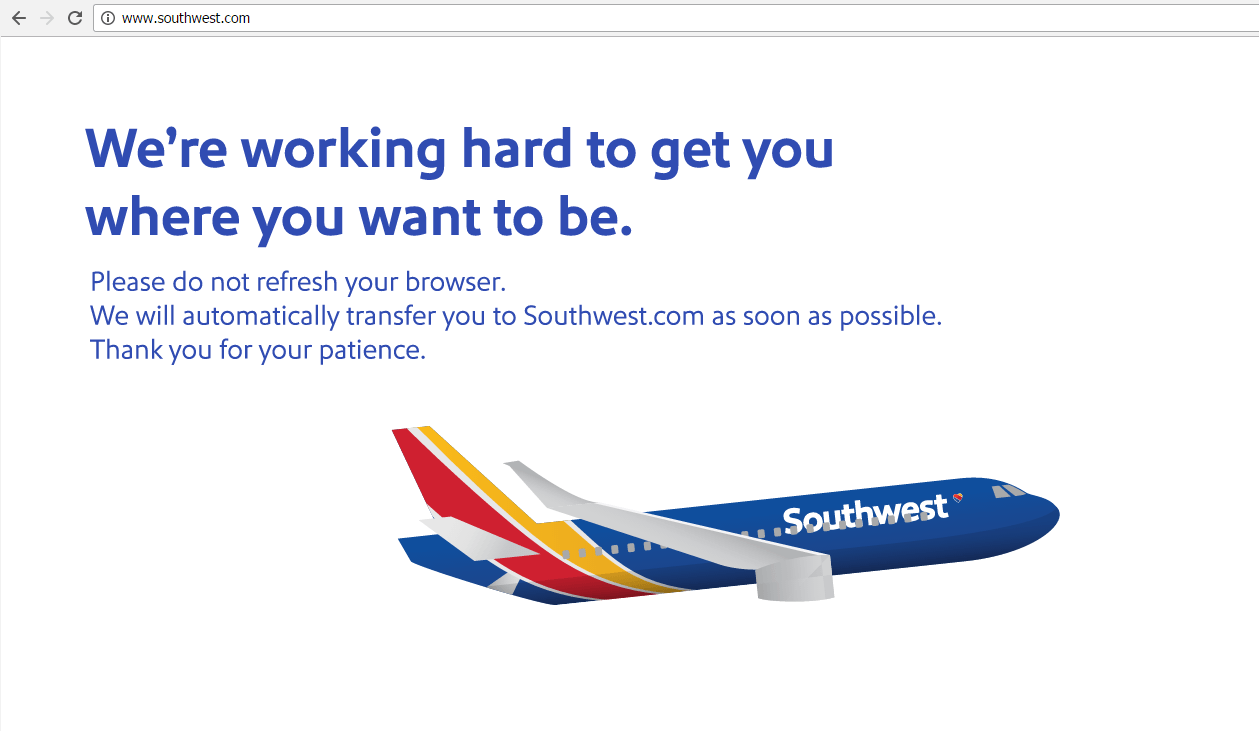 Southwest Airline website crash